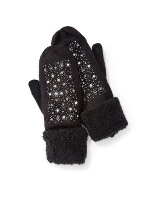 Women's black pearl detail mittens