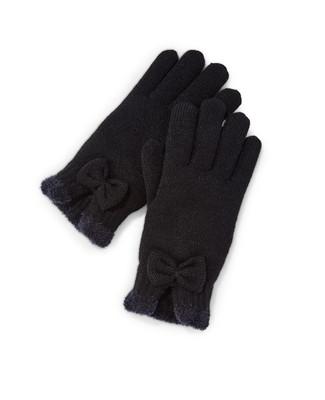 Women's black chenille winter gloves