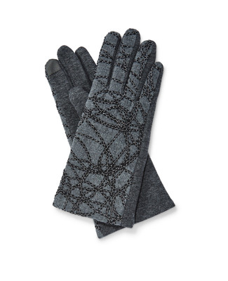 Women's grey embroidered winter texting gloves