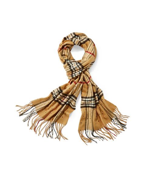 Women's taupe plaid cashmink scarf