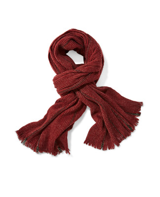 Women's red knit scarf