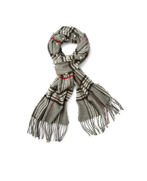 Women's plaid pearl trim scarf