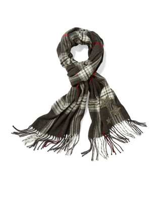 Women's black plaid cashmink scarf