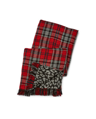 Women's reversible blanket scarf with plaid and animal print
