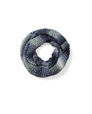 Women's blue knit infinity scarf