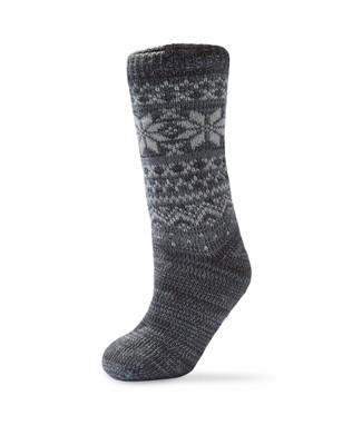 Women's grey fleece lined slipper socks