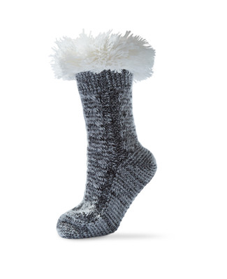 Cable Detail Socks With Sherpa Top