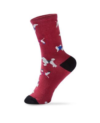Women's pink dog patterned crew socks