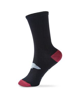 Women's black dog patterned crew socks