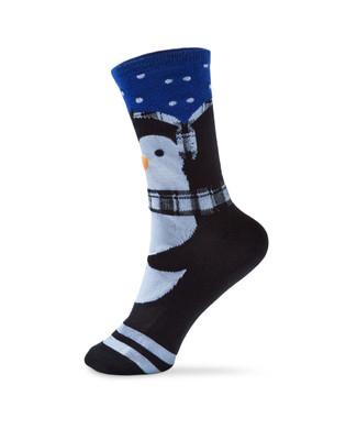 Women's crew socks with penguin design