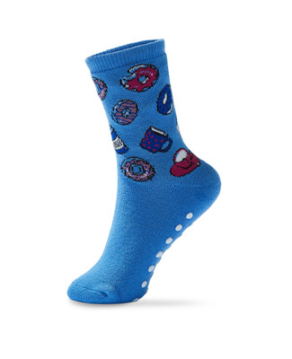 Women's donut print terry slipper socks