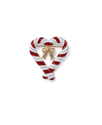 Women's candy cane heart festive brooch