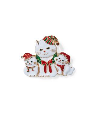 Women's cat festive brooch