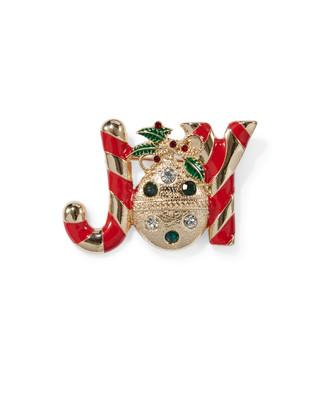 Women's festive joy holiday brooch