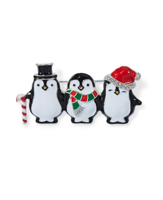 Women's penguin holiday brooch