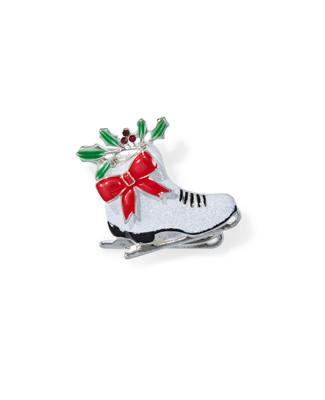Women's sparkle skates festive brooch