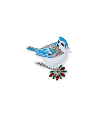 Women's blue jay festive brooch
