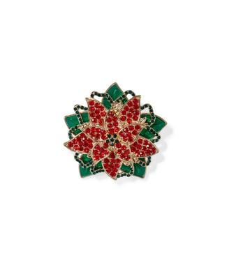 Women's red flower poinsettia festive brooch
