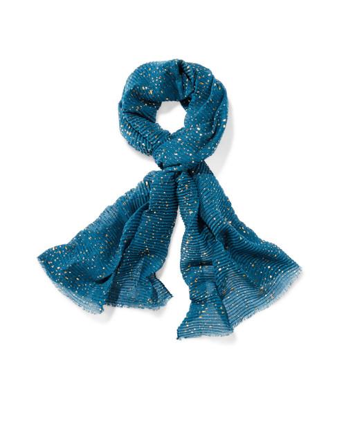 Women's green metallic print scarf