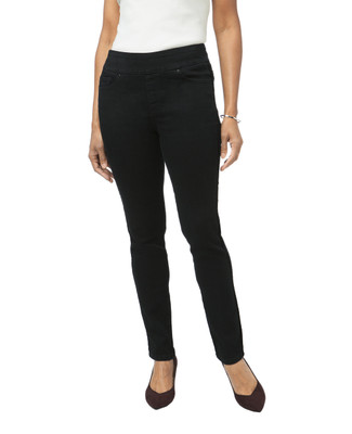 Women's black velvet stripe jegging