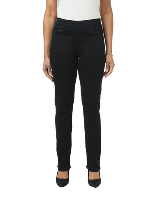 Women's black embroidered straight leg jeans