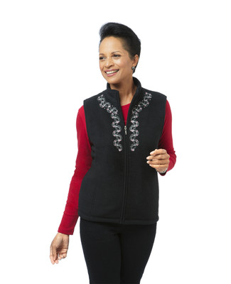 Women's black embroidered winter vest