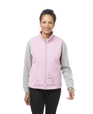 Women's pink embroidered winter vest