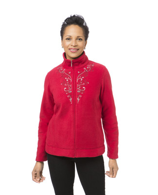 Women's red scroll embroidered jacket