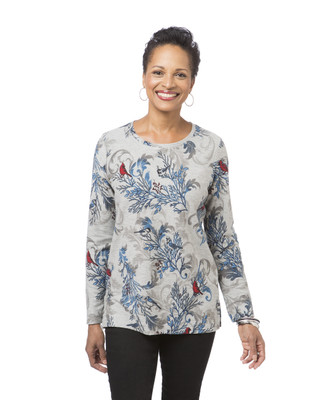 Women's grey printed French terry pullover