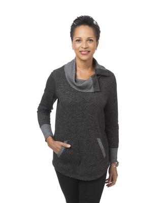 Women's black split neck pullover