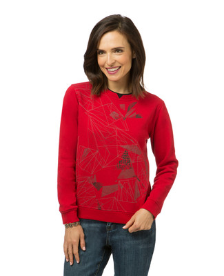 Women's petite red print sweatshirt