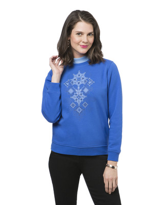Women's petite snowflake print sweatshirt