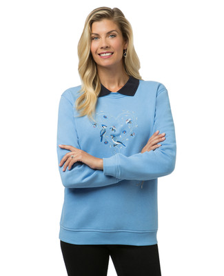 Women's blue bird print sweatshirt with collar