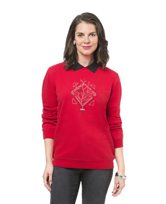 Women's red winter print sweatshirt