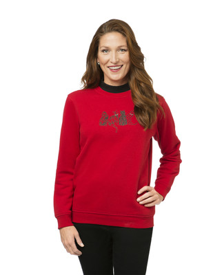 Women's red cat print sweatshirt