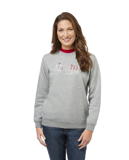 Women's grey polar bear mock neck sweatshirt