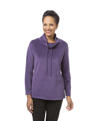 Women's purple cowl neck pullover
