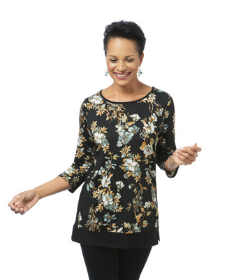 Women's black floral print tunic