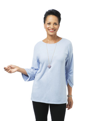 Women's light blue drop shoulder hacci top