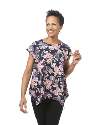 Women's navy floral print top