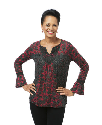 Women's black and red bell sleeve lace top