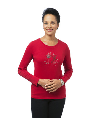 Women's red embroidered crew neck top