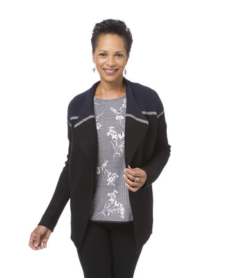 Women's black colour block cardigan