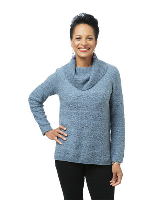 Cable Knit Cowl Neck Blue Sweater