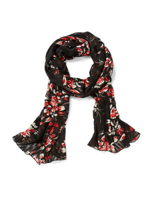 Women's flocked floral scarf