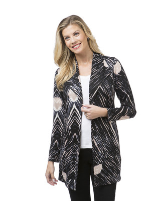 Women's grey printed casual long blazer