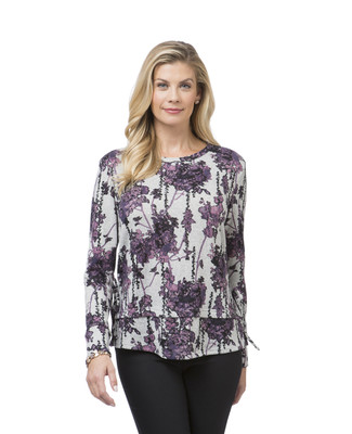 Women's purple double hem floral top