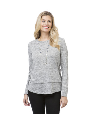 Women's grey double hem top
