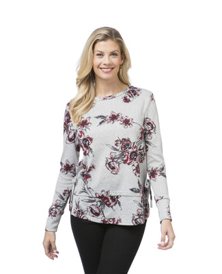 Women's red double hem floral top