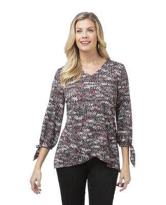 Women's grey V-neck sweater with crossover hem